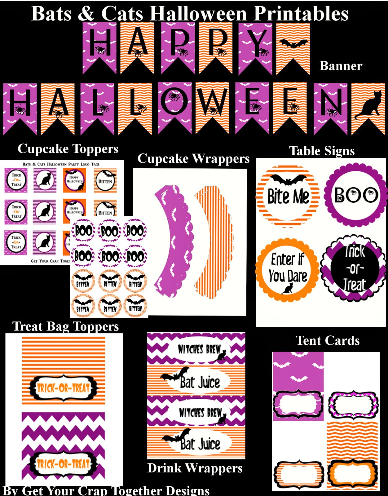 Make your Halloween party memorable with this these free halloween printables for a fun bat and cat party.  Simply download, print and start decorating.