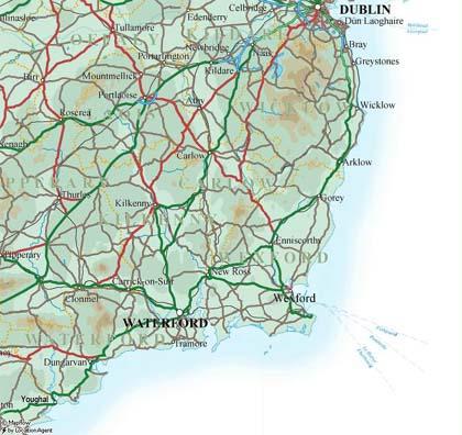 southeast ireland map