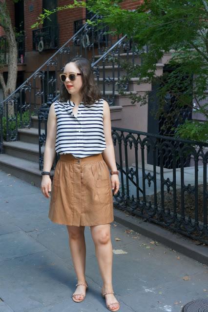 summer striped blouse, tan skirt