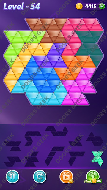 Block! Triangle Puzzle 10 Mania Level 54 Solution, Cheats, Walkthrough for Android, iPhone, iPad and iPod