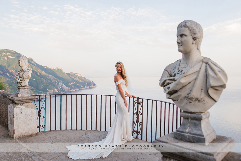 Bride in Ravello at Villa Cimbrone