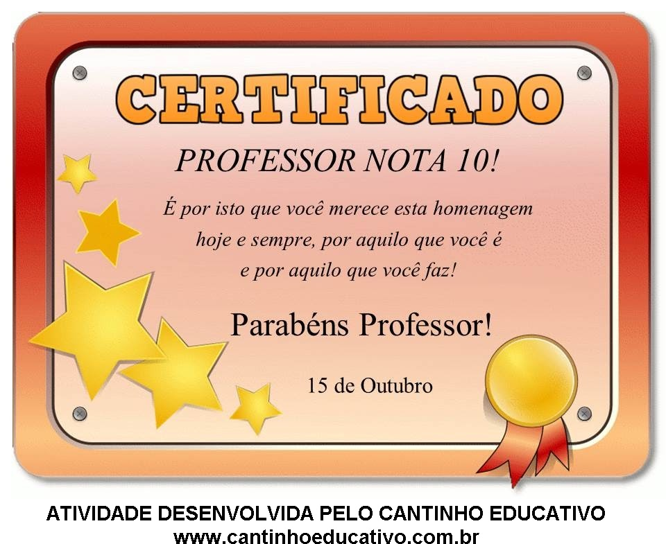 Cantinho Educativo Diplomas Para Imprimir Dia Do Professor