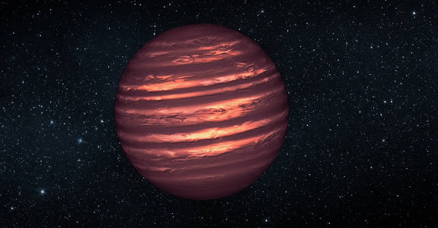 Artist's conception of a brown dwarf, featuring the cloudy atmosphere of a planet and the residual light of an almost-star. Credits: NASA/ESA/JPL
