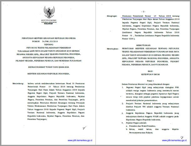 PMK Nomor 54/PMK.05/2018 Tentang Juknis Pemberian THR Bagi PNS, TNI, POLRI Pejabat Negara, Pensiunan Dan Penerima Tunjangan Tahun 2018
