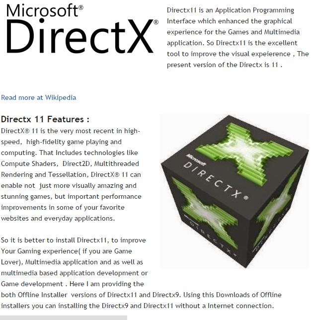 DirectX 9,10,11,11.2 Full Setup Offline Installer Free Download For Windows