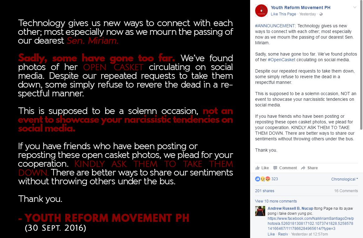 Youth Reform movement message to Miriam supporters