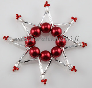 Joulukoristeet helmistä, tsekkiläiset lasihelmet, Tsekkiläiset helmiäishelmet, Toho siemenhelmet, Miyuki siemenhelmet, metallilanka,