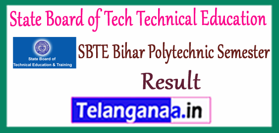 SBTE State Board of Tech Technical Education Bihar Diploma 1st 3rd 5th Semester Result 2017