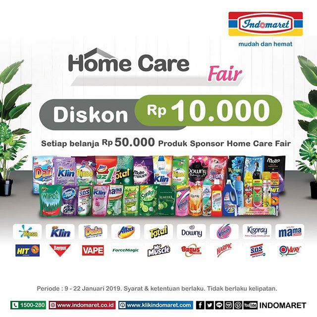 #Indomaret - Promo Home Care Fair Diskon 10K Setiap Belanja 50K (s.d 22 Jan 2019)