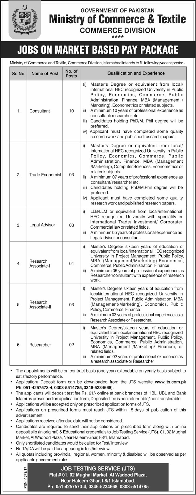 Jobs In Ministry Of Commerce And Textile Islamabad 2018