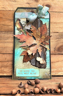 Sara Emily Barker Saturday Showcase Faux Bark and Leaf Tutorial for The Funkie Junkie Boutique #wendyvecchi #makeartblendabledyeink #timholtz #sizzixalterations #stampersanonymous 10