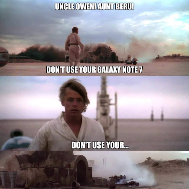 Galaxy 7 catch on fire Star Wars joke.