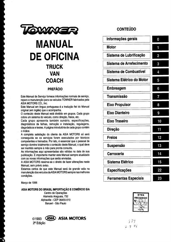 MANUAIS DO PROPRIETÁRIO: MANUAL MECÂNICO ASIA TOWNER 93 a 97