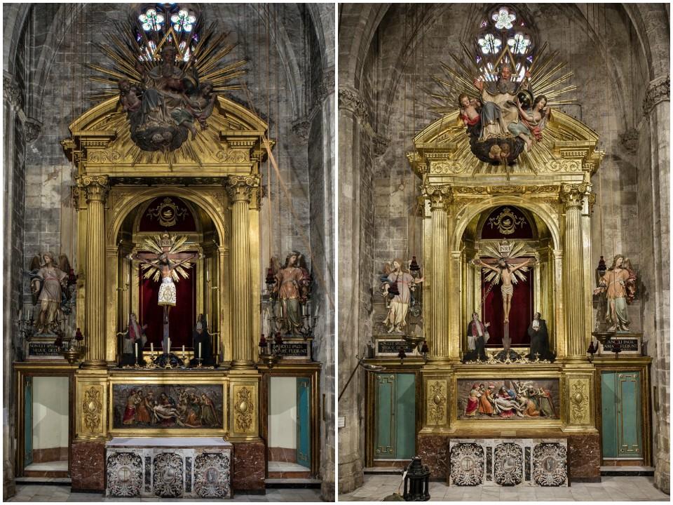 Retablo de Santa Eulalia antes y después de la restauración