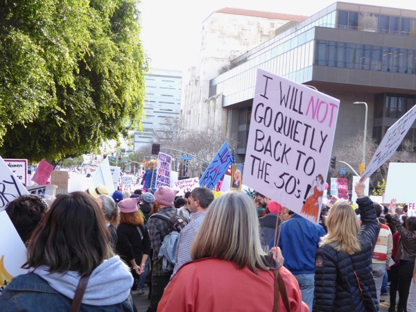 Womens March LA not go quietly back to the 50s sign