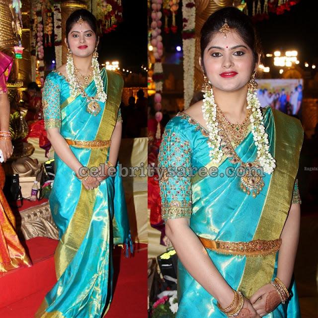 Aqua Blue Bridal Sari