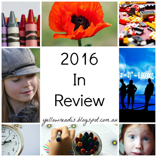 "text - ""2016 In Review"" surrounded by 8 images. Crayons, poppy, lego, people with maths, surprised girl, writing with crayons, clock, girl looking away"