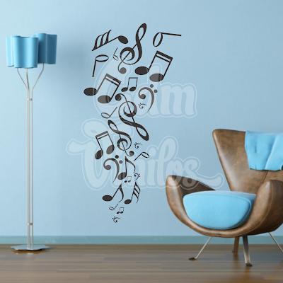vinilo decorativo pared notas musicales
