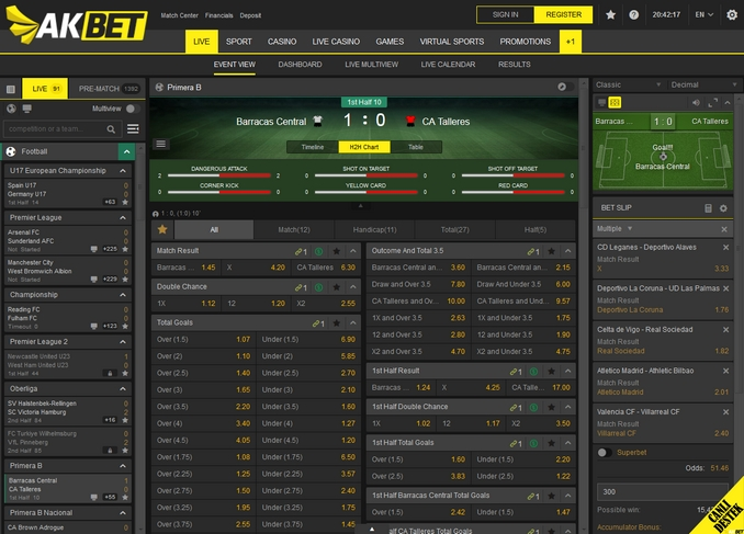 Akbet Live Betting Screen