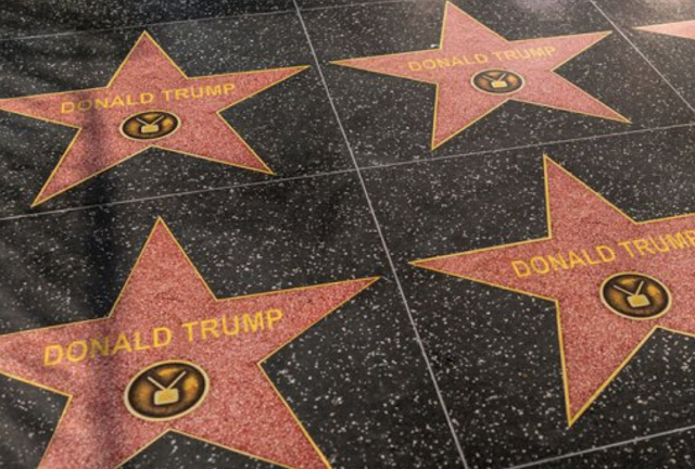 Fake Trump stars line Hollywood's Walk of Fame