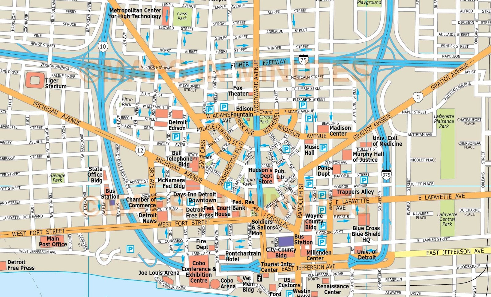 Mapas De Detroit USA MapasBlog - Mapas usa