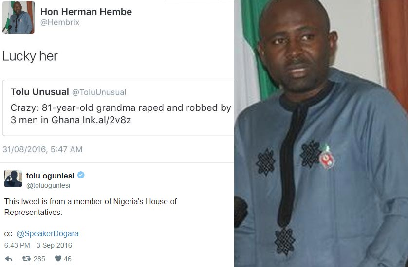 A House of Reps member, Hon. Herman Hembe, actually tweeted this?
