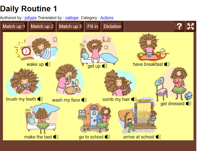 http://www.learningchocolate.com/en-gb/content/daily-routine-1