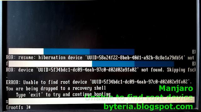 """""""Unable to find root device"""", após uma atualização tumultuada do Manjaro"""