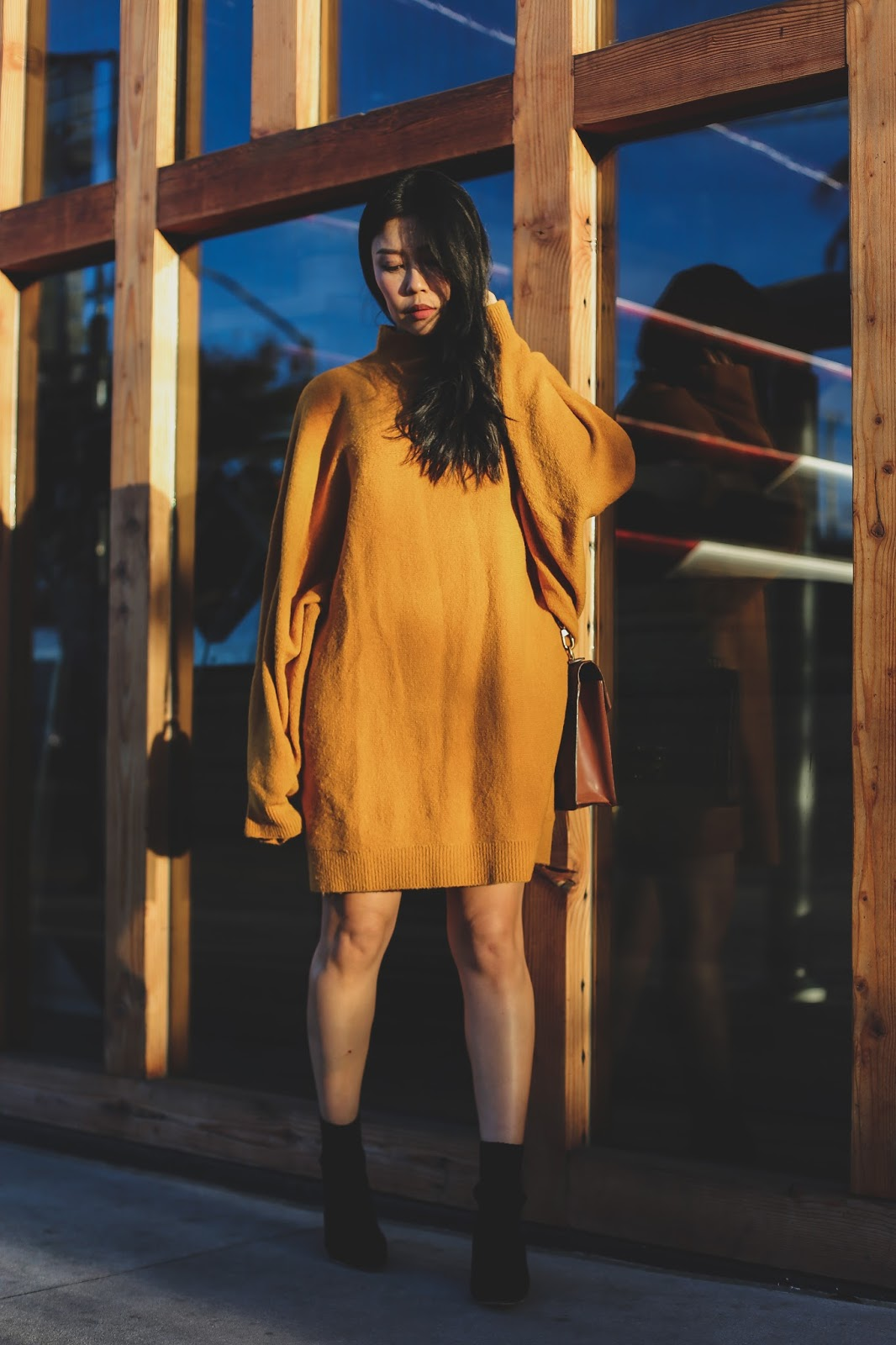 nastygal oversized mustard sweater