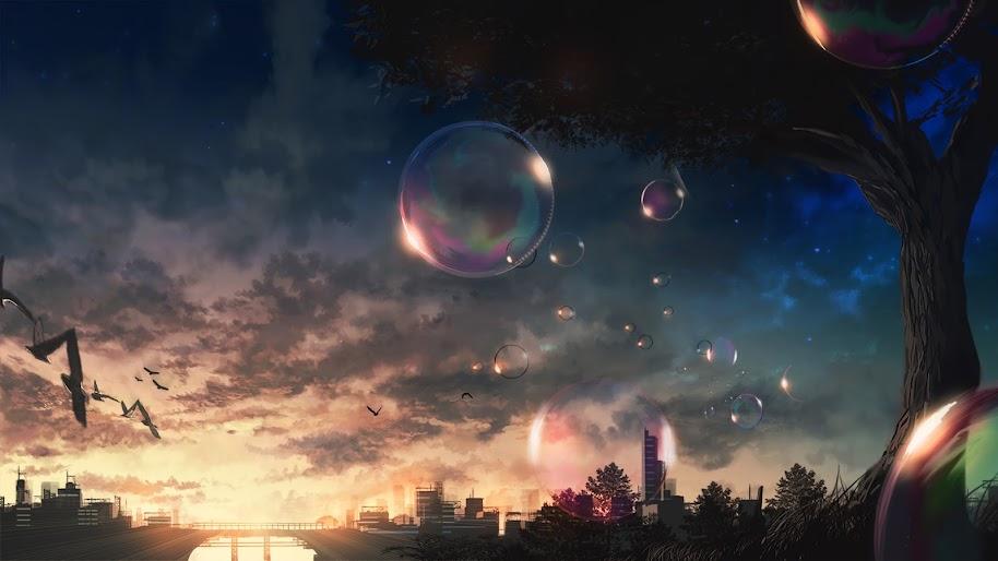 Anime, Scenery, Bubbles, Sky, 4K, 3840x2160, #57 Wallpaper