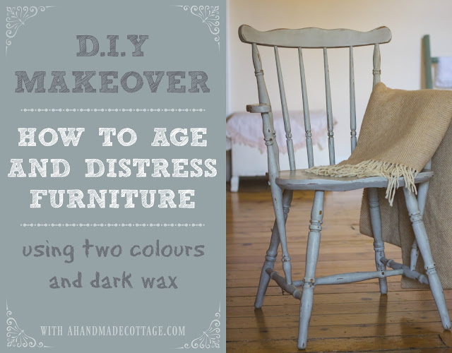 How to age, antique and distress furniture using two-colours & dark wax