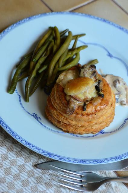 Bouchées feuilletées au jambon et aux champignons