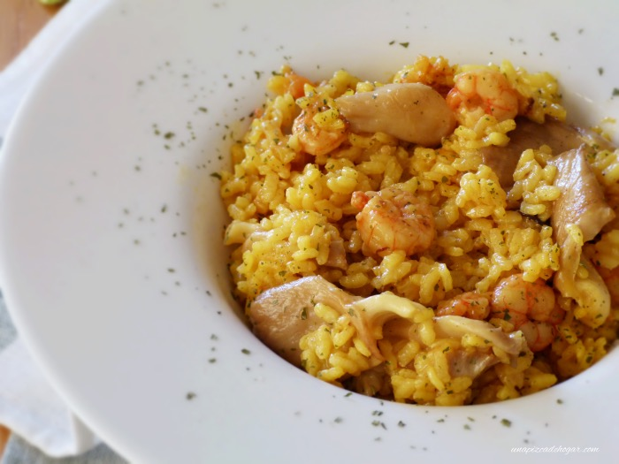arroz meloso de gambas y setas