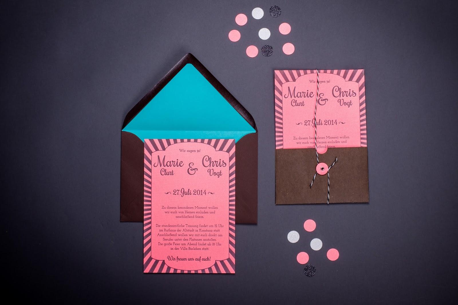 Hochzeitseinladung Letterpress Neonpink poule folle