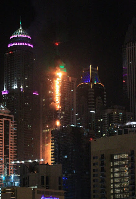 Huge fire rips through one of world's tallest skyscraper in Dubai