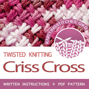 Criss Cross Stitch Pattern is found in the Twist and Cable Stitches category. FREE written instructions, PDF knitting pattern. #knittingstitches #knitting #twistedknitting #knitters