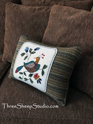 """Folksy Bird and Bloom"" Wool Applique by Rose Clay at ThreeSheepStudio.com"