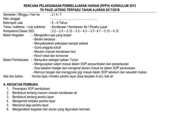 RPPH TK-B Kurikulum 2013 Semester 2 Kendaraan AIR