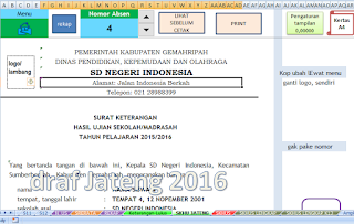 aplikasi cetak skhu excel SD tahun pelajaran 2018/2019