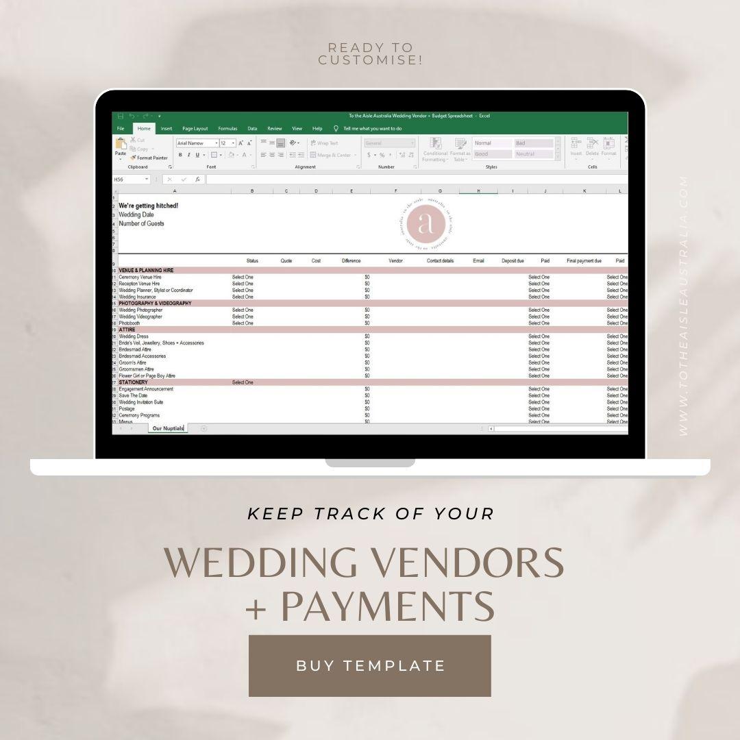 BUY NOW! Wedding Vendor + Budget Spreadsheet