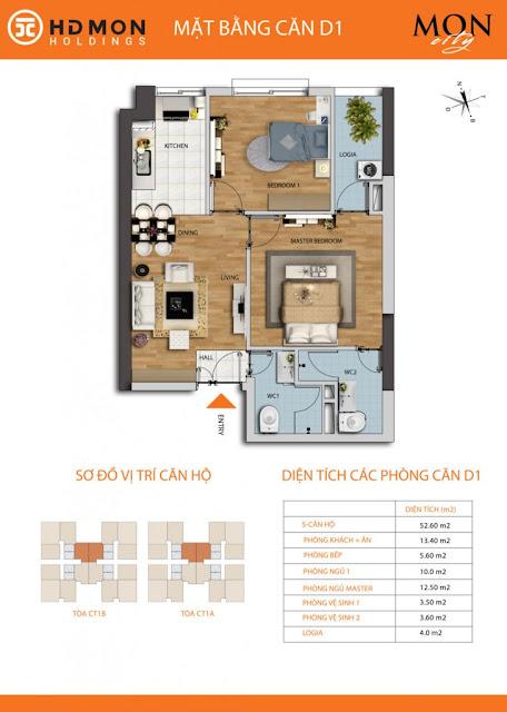 Căn hộ D1 chung cư Mon city Mỹ Đình- 51,5 m2 thông thủy