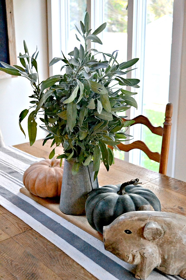 An Herbal Sage bouquet for a farmhouse table centerpiece. www.homeroad.net