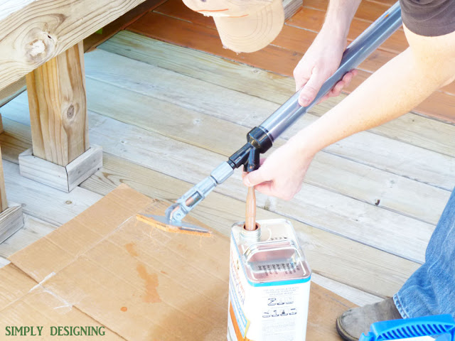 Using a StainStick to Stain a Deck | How to Stain a Deck | #deck #stain #diy | @SimplyDesigning