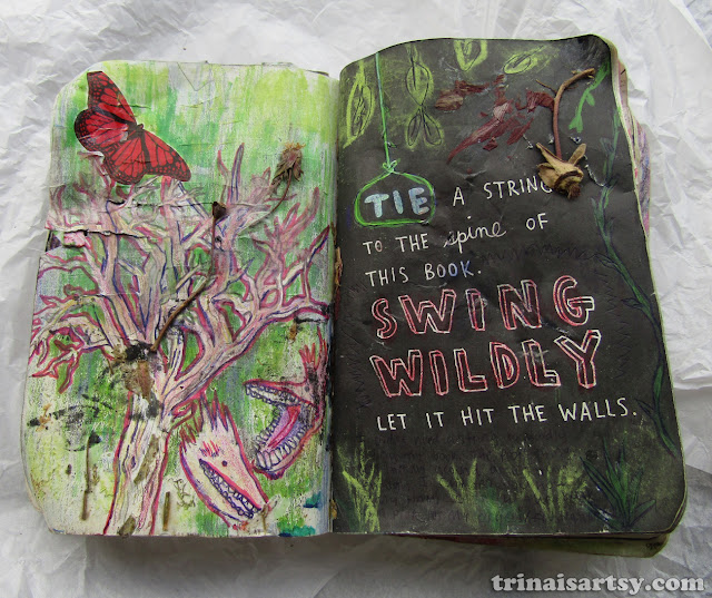 Wreck this Journal -  Tie a string to this book and swing wildly featuring dried flowers