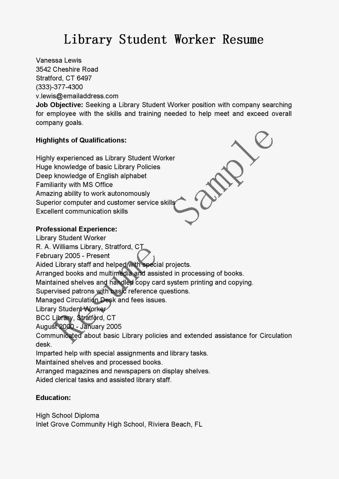 Resume Samples Library Student Worker Resume Sample