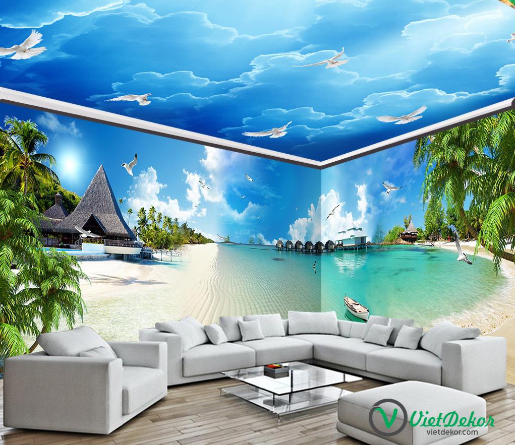 Trần 3d phong cảnh bầu trời xanh mây trắng cò bay