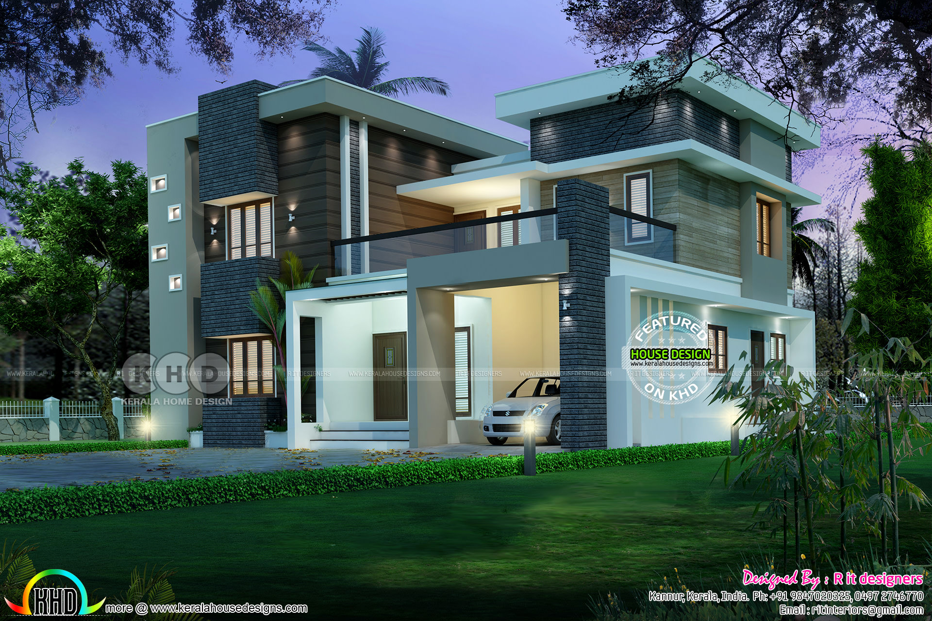 Modern contemporary kerala home 2352 sq ft kerala home for Home designs 2017 kerala