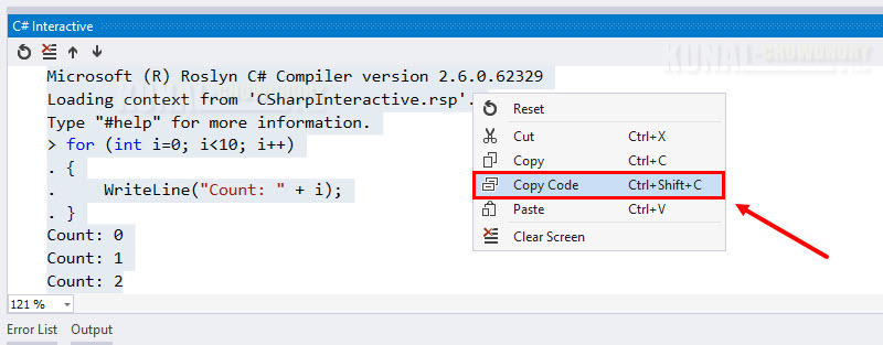 Do you know that, you can easily copy code from C# Interactive Window?