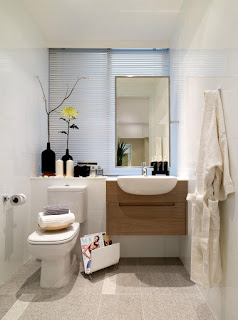 beautiful small bathroom design mixed with vertical mirror and towel wall hook feats modern wooden floating cabinet