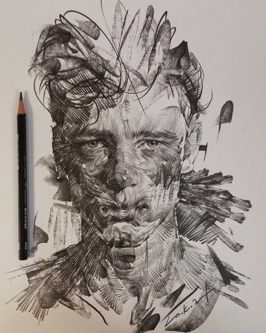 12-Lee-K-Lines-and-Swirls-Pencil-and-Charcoal-Portraits-www-designstack-co